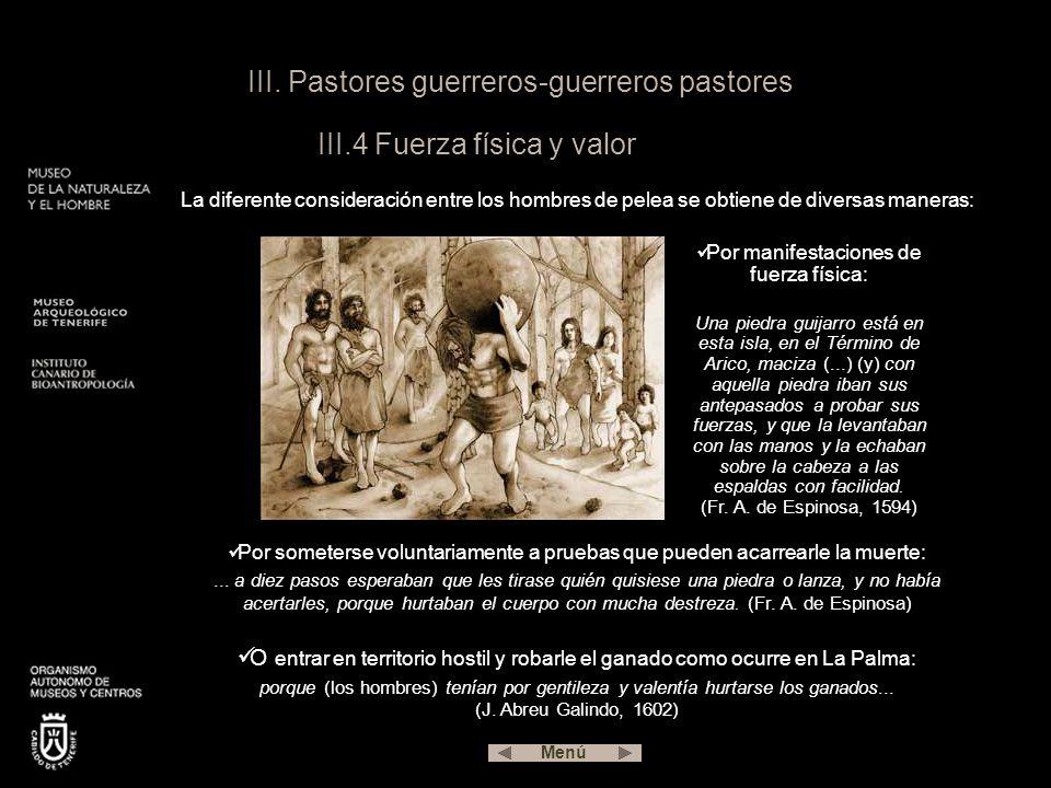 III. Pastores guerreros-guerreros pastores III.4 Fuerza física y valor La diferente consideración entre los hombres de pelea se obtiene de diversas ma