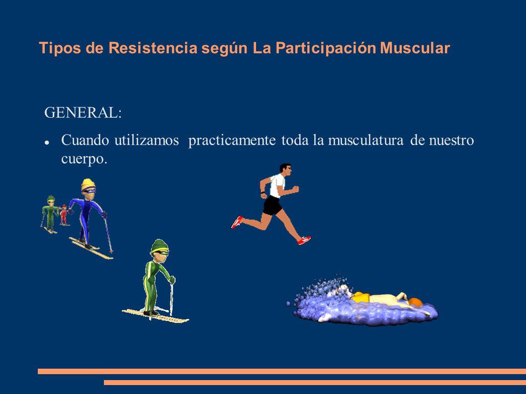 Tipos de Resistencia según La Participación Muscular GENERAL: Cuando utilizamos practicamente toda la musculatura de nuestro cuerpo.