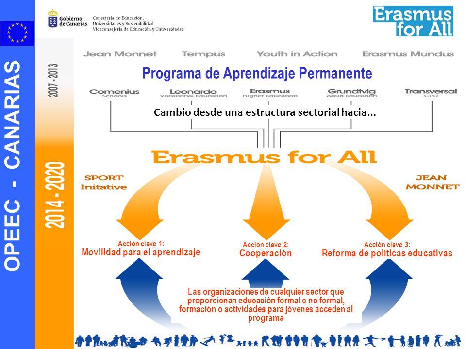 OPEEC - CANARIAS Programa de Aprendizaje Permanente Cambio desde una estructura sectorial hacia … Acción clave 1: Movilidad para el aprendizaje Acción
