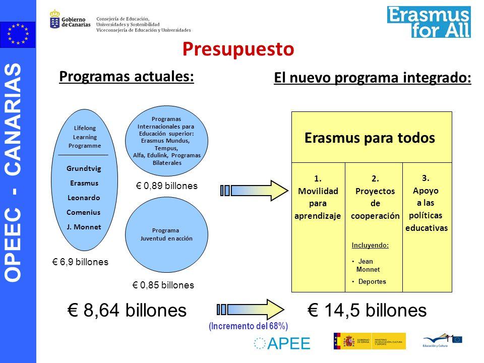 OPEEC - CANARIAS 11 Programa Juventud en acción Programas Internacionales para Educación superior: Erasmus Mundus, Tempus, Alfa, Edulink, Programas Bi