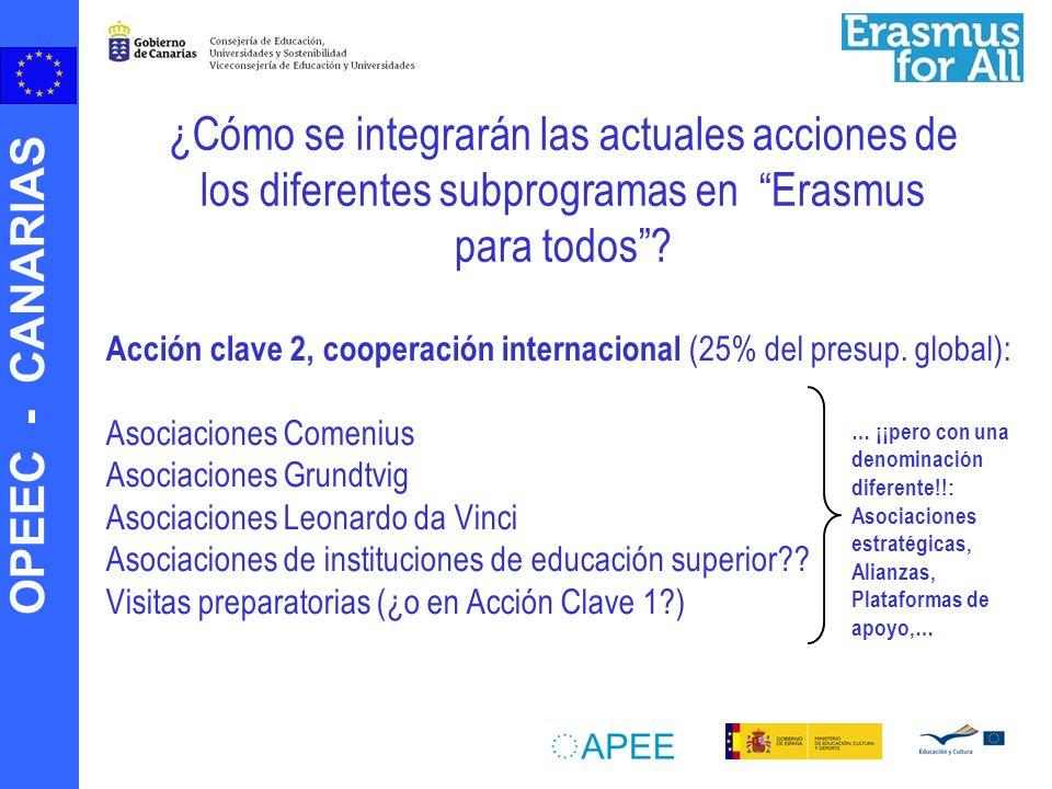 OPEEC - CANARIAS Acción clave 2, cooperación internacional (25% del presup. global): Asociaciones Comenius Asociaciones Grundtvig Asociaciones Leonard