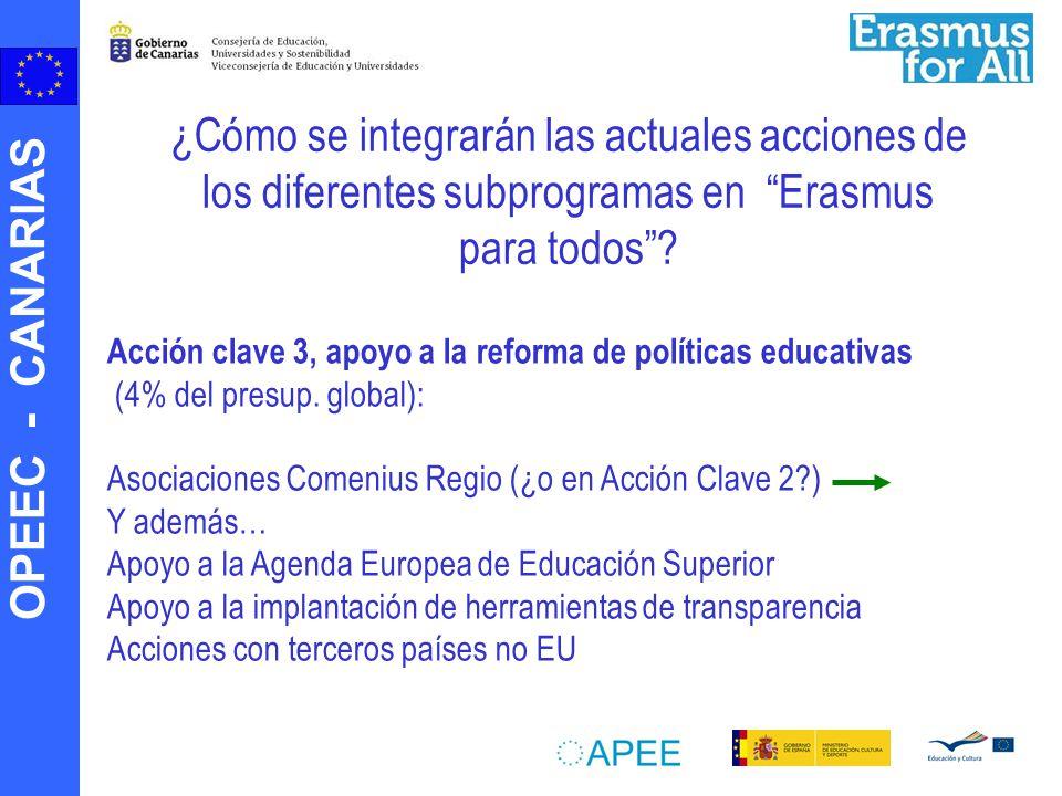 OPEEC - CANARIAS Acción clave 3, apoyo a la reforma de políticas educativas (4% del presup. global): Asociaciones Comenius Regio (¿o en Acción Clave 2