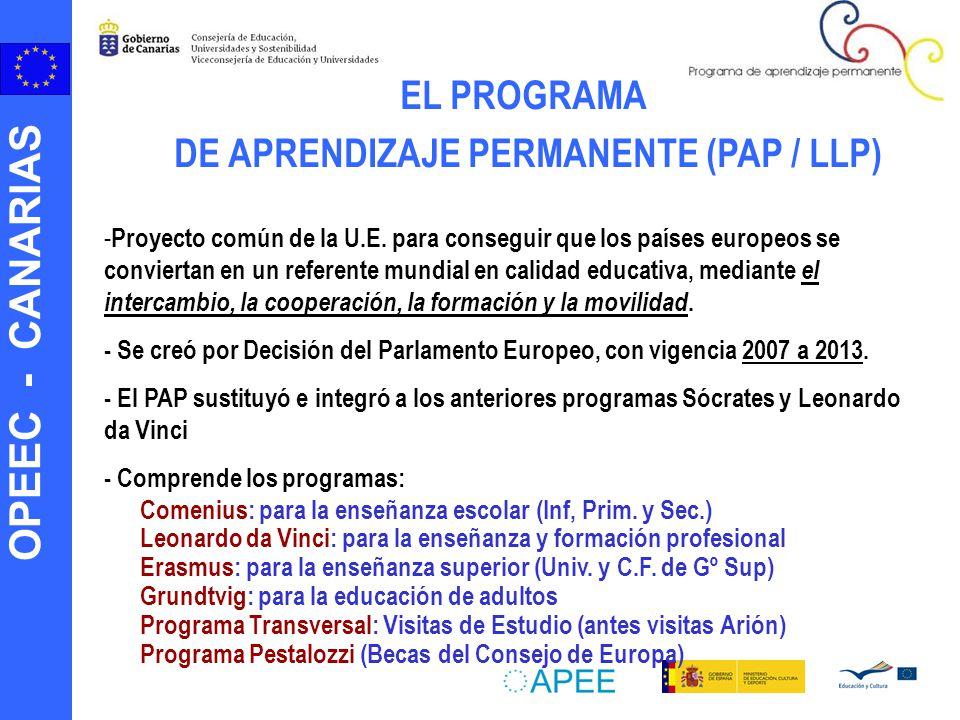 OPEEC - CANARIAS EL PROGRAMA DE APRENDIZAJE PERMANENTE (PAP / LLP) - Proyecto común de la U.E. para conseguir que los países europeos se conviertan en