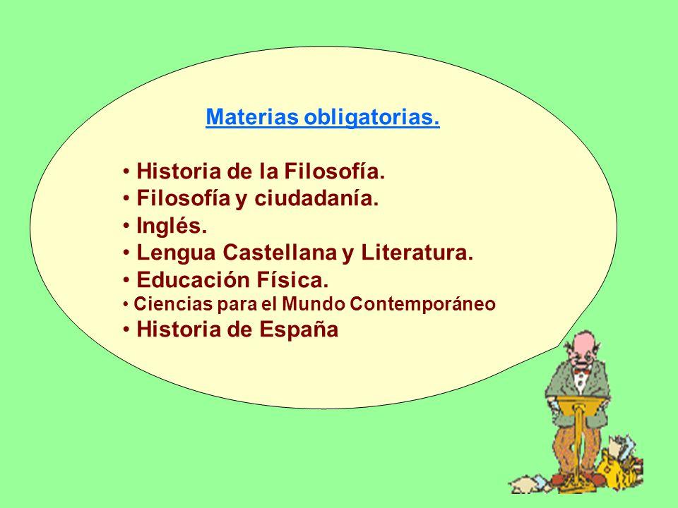 Materias obligatorias. Historia de la Filosofía. Filosofía y ciudadanía.