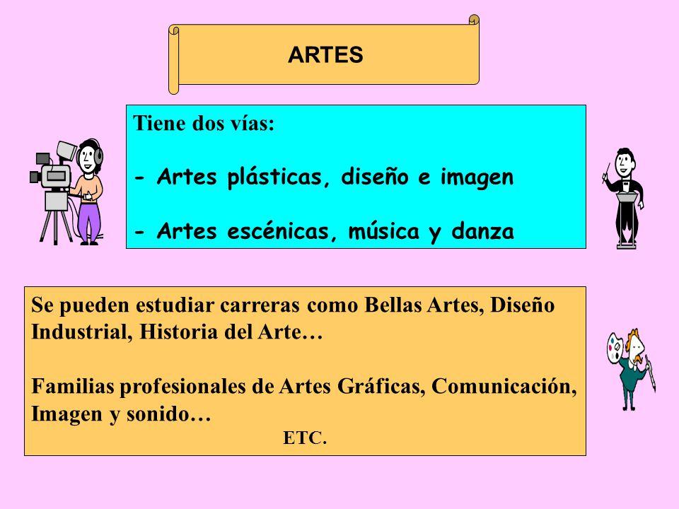 ARTES Se pueden estudiar carreras como Bellas Artes, Diseño Industrial, Historia del Arte… Familias profesionales de Artes Gráficas, Comunicación, Imagen y sonido… ETC.