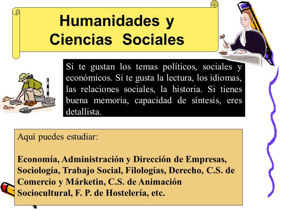 Humanidades y Ciencias Sociales Aquí puedes estudiar: Economía, Administración y Dirección de Empresas, Sociología, Trabajo Social, Filologías, Derecho, C.S.