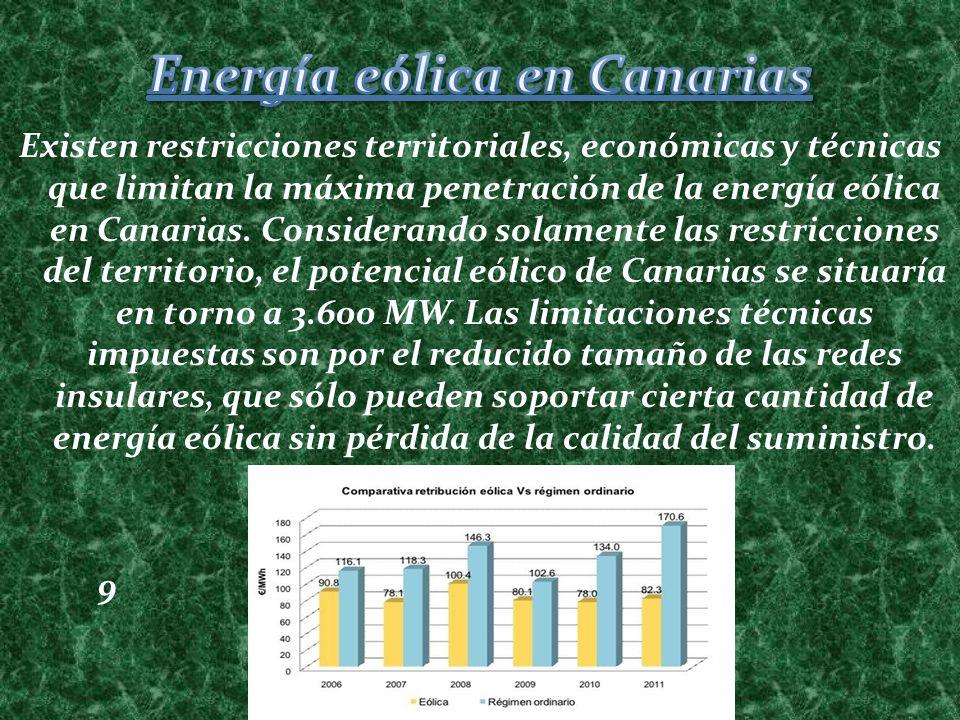 Existen restricciones territoriales, económicas y técnicas que limitan la máxima penetración de la energía eólica en Canarias. Considerando solamente