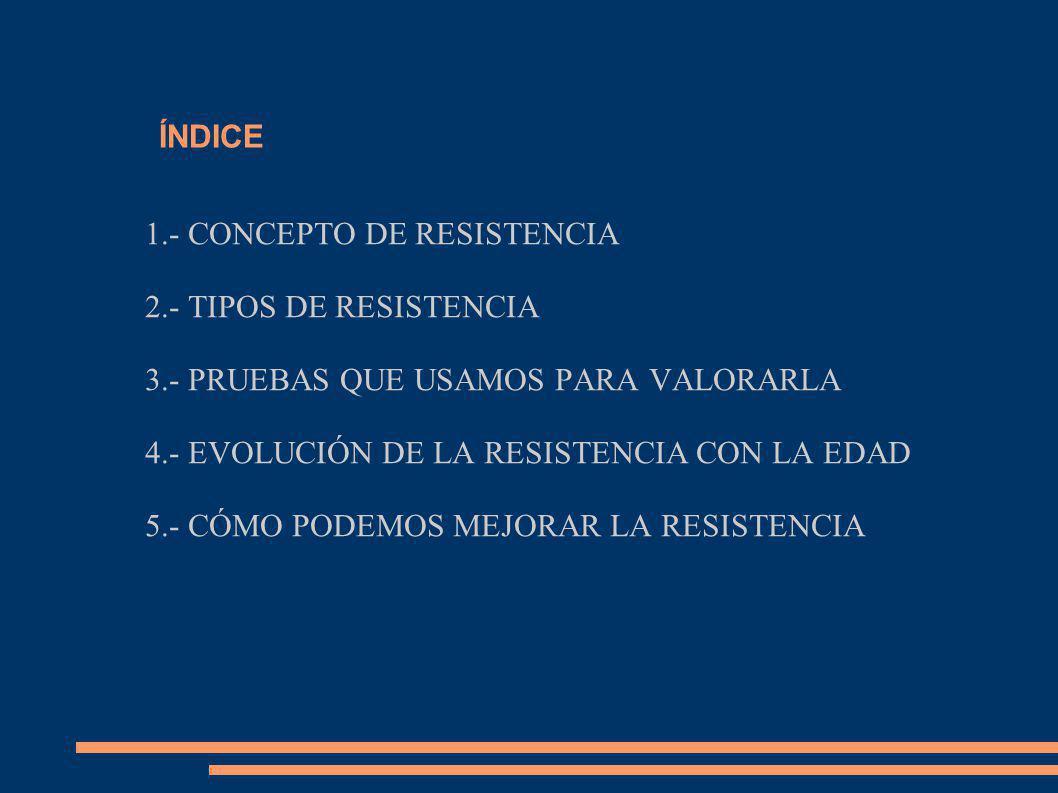 ÍNDICE 1.- CONCEPTO DE RESISTENCIA 2.- TIPOS DE RESISTENCIA 3.- PRUEBAS QUE USAMOS PARA VALORARLA 4.- EVOLUCIÓN DE LA RESISTENCIA CON LA EDAD 5.- CÓMO