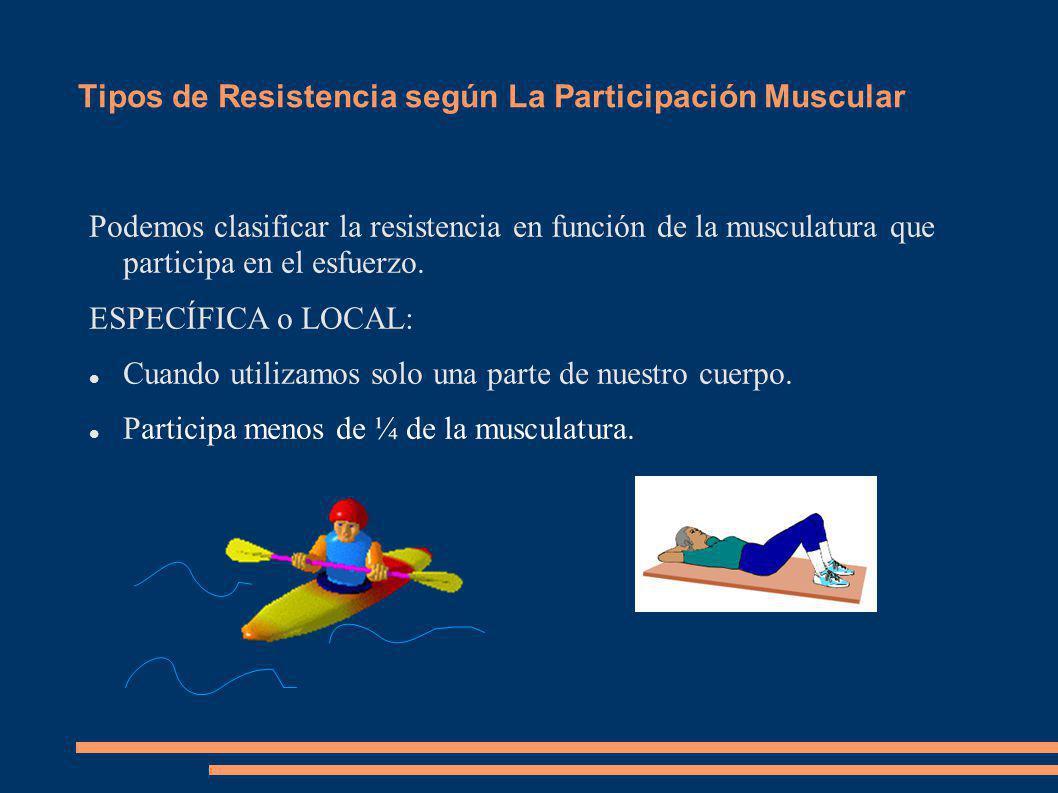 Tipos de Resistencia según La Participación Muscular Podemos clasificar la resistencia en función de la musculatura que participa en el esfuerzo. ESPE
