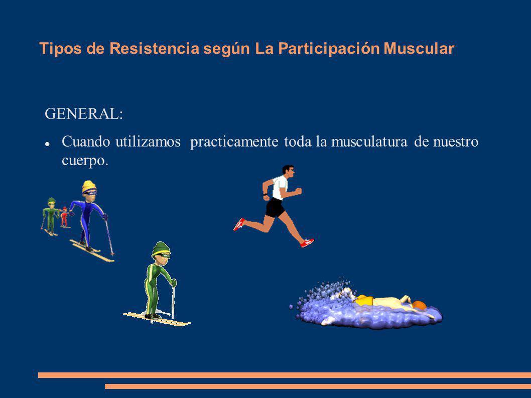 Tipos de Resistencia según La Obtención de Energía RESISTENCIA AERÓBICA El oxígeno que llega al músculo es suficiente para que se produzca la energía que necesitamos.