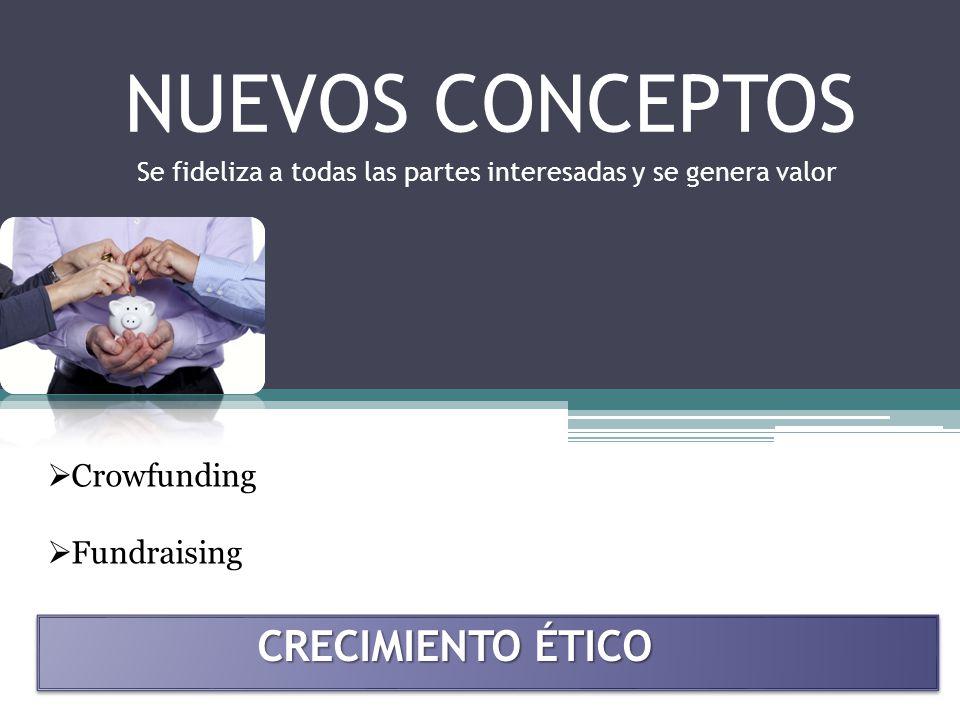 NUEVOS CONCEPTOS Crowfunding Fundraising CRECIMIENTO ÉTICO Se fideliza a todas las partes interesadas y se genera valor