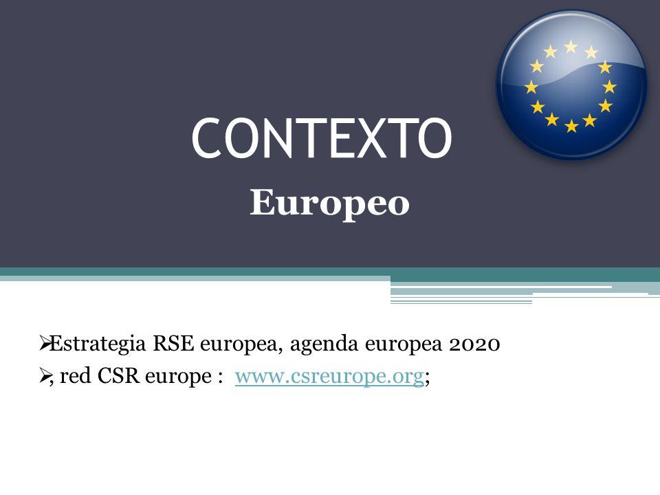 CONTEXTO Estrategia RSE europea, agenda europea 2020, red CSR europe : www.csreurope.org;www.csreurope.org Europeo