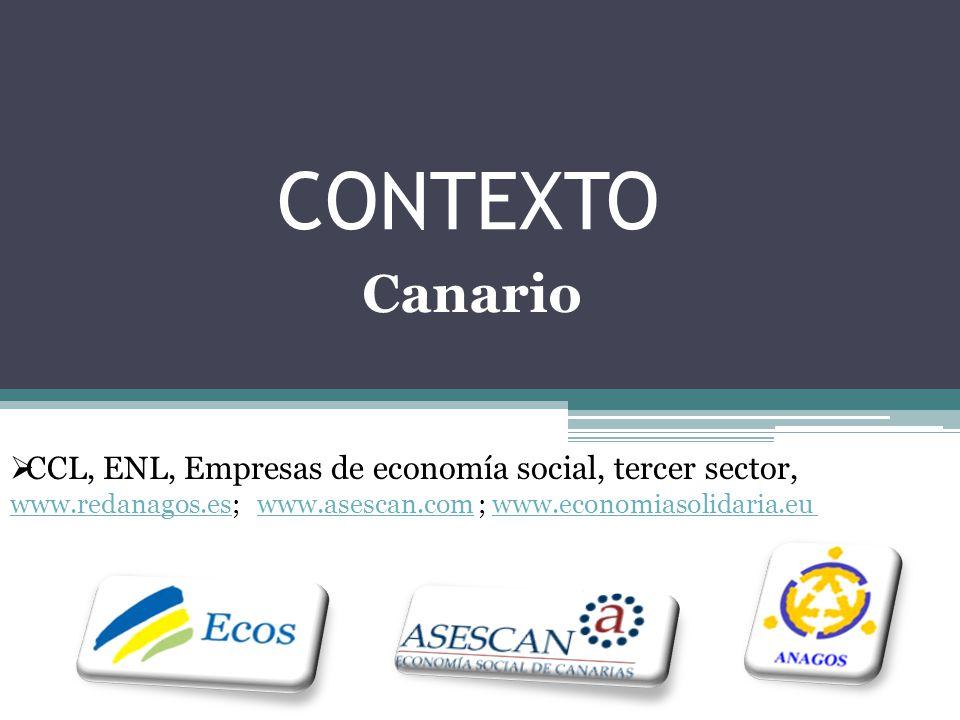 CONTEXTO CCL, ENL, Empresas de economía social, tercer sector, www.redanagos.eswww.redanagos.es; www.asescan.com ; www.economiasolidaria.eu www.asescan.comwww.economiasolidaria.eu Canario
