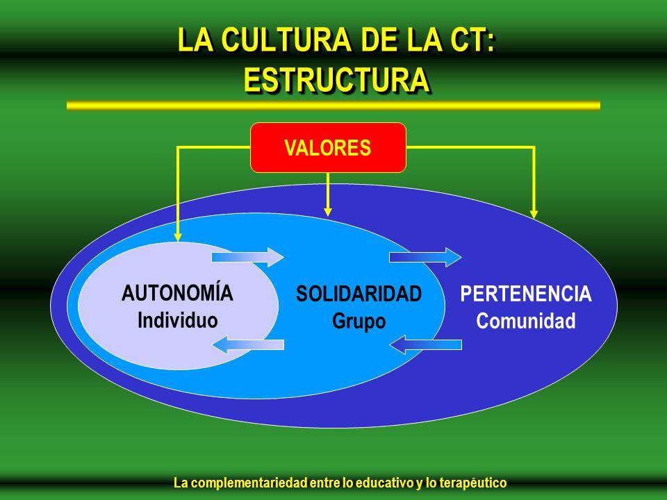 La complementariedad entre lo educativo y lo terapéutico LA CULTURA DE LA CT: ESTRUCTURA AUTONOMÍA Individuo SOLIDARIDAD Grupo PERTENENCIA Comunidad VALORES