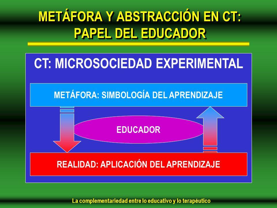 La complementariedad entre lo educativo y lo terapéutico METÁFORA Y ABSTRACCIÓN EN CT: PAPEL DEL EDUCADOR CT: MICROSOCIEDAD EXPERIMENTAL METÁFORA: SIMBOLOGÍA DEL APRENDIZAJE REALIDAD: APLICACIÓN DEL APRENDIZAJE EDUCADOR