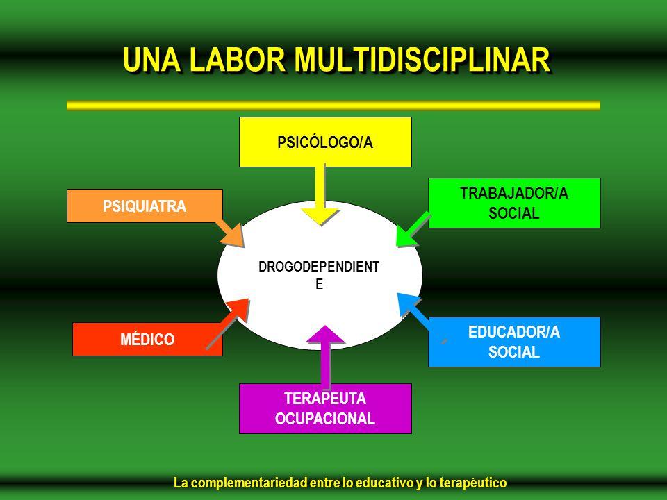 La complementariedad entre lo educativo y lo terapéutico DROGODEPENDIENT E TRABAJADOR/A SOCIAL EDUCADOR/A SOCIAL TERAPEUTA OCUPACIONAL PSICÓLOGO/A PSIQUIATRA MÉDICO UNA LABOR MULTIDISCIPLINAR