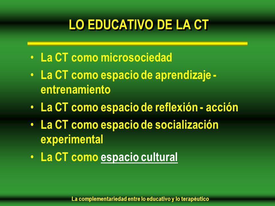 La complementariedad entre lo educativo y lo terapéutico LO EDUCATIVO DE LA CT La CT como microsociedad La CT como espacio de aprendizaje - entrenamiento La CT como espacio de reflexión - acción La CT como espacio de socialización experimental La CT como espacio cultural