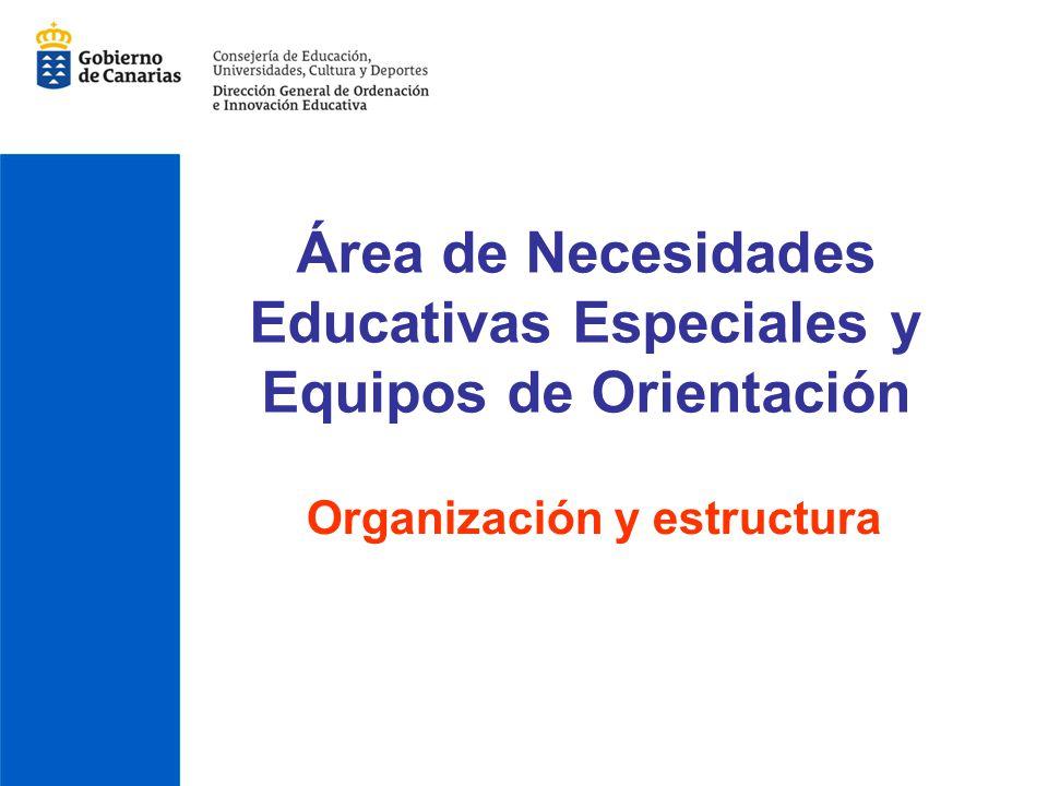 Área de Necesidades Educativas Especiales y Equipos de Orientación Organización y estructura
