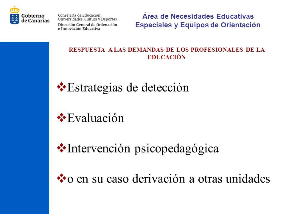 Área de Necesidades Educativas Especiales y Equipos de Orientación RESPUESTA A LAS DEMANDAS DE LOS PROFESIONALES DE LA EDUCACIÓN Estrategias de detecc