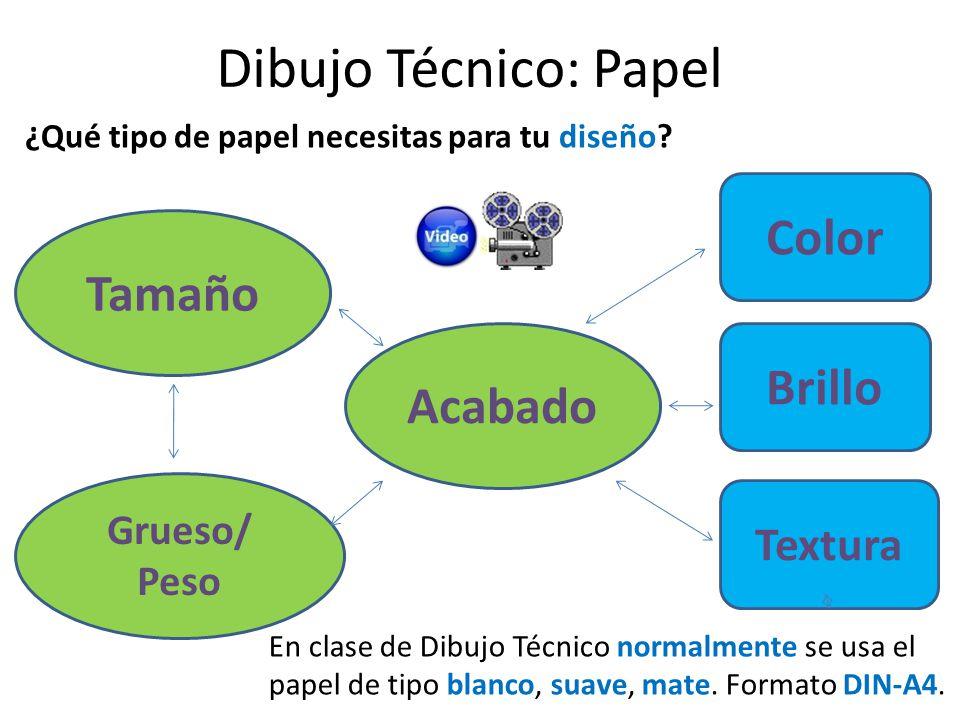 Diferentes tipos de papel BrilloMateSin brillo SatinadoCon brillo TexturaSuaveSin textura ÁsperoGranulado ColorBlancoLiso or normal ColoreadoColoreado o impreso Dibujo Técnico: Papel
