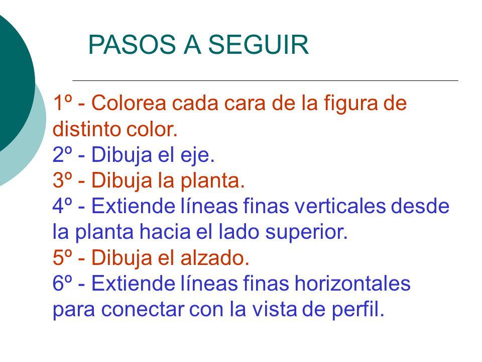 1º - Colorea cada cara de la figura de distinto color. 2º - Dibuja el eje. 3º - Dibuja la planta. 4º - Extiende líneas finas verticales desde la plant