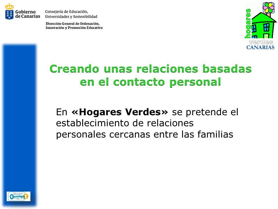 En «Hogares Verdes» se pretende el establecimiento de relaciones personales cercanas entre las familias