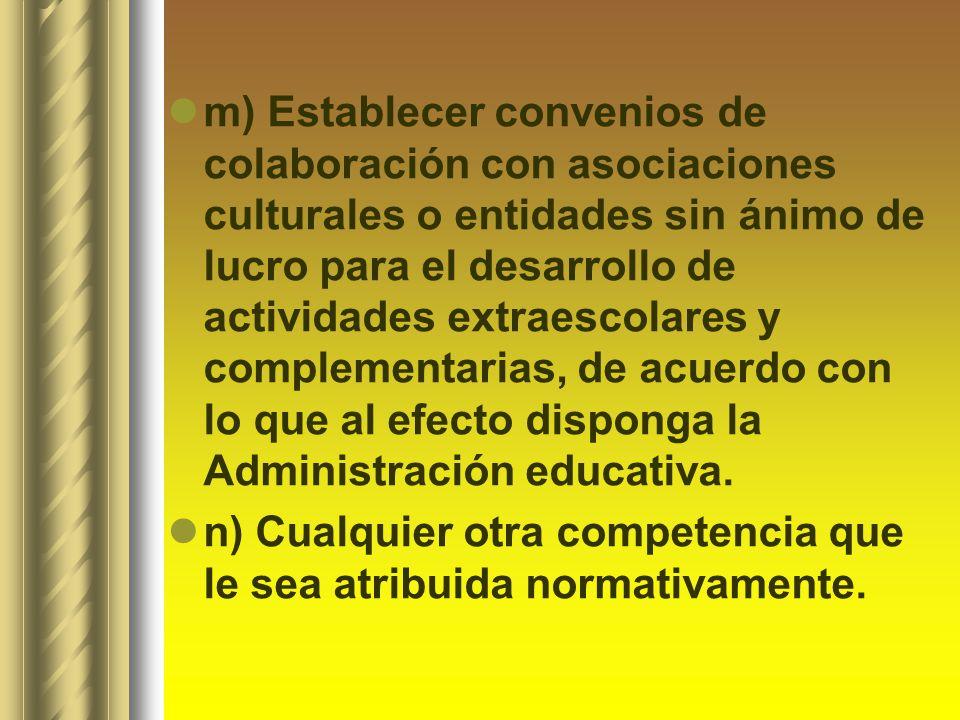 m) Establecer convenios de colaboración con asociaciones culturales o entidades sin ánimo de lucro para el desarrollo de actividades extraescolares y