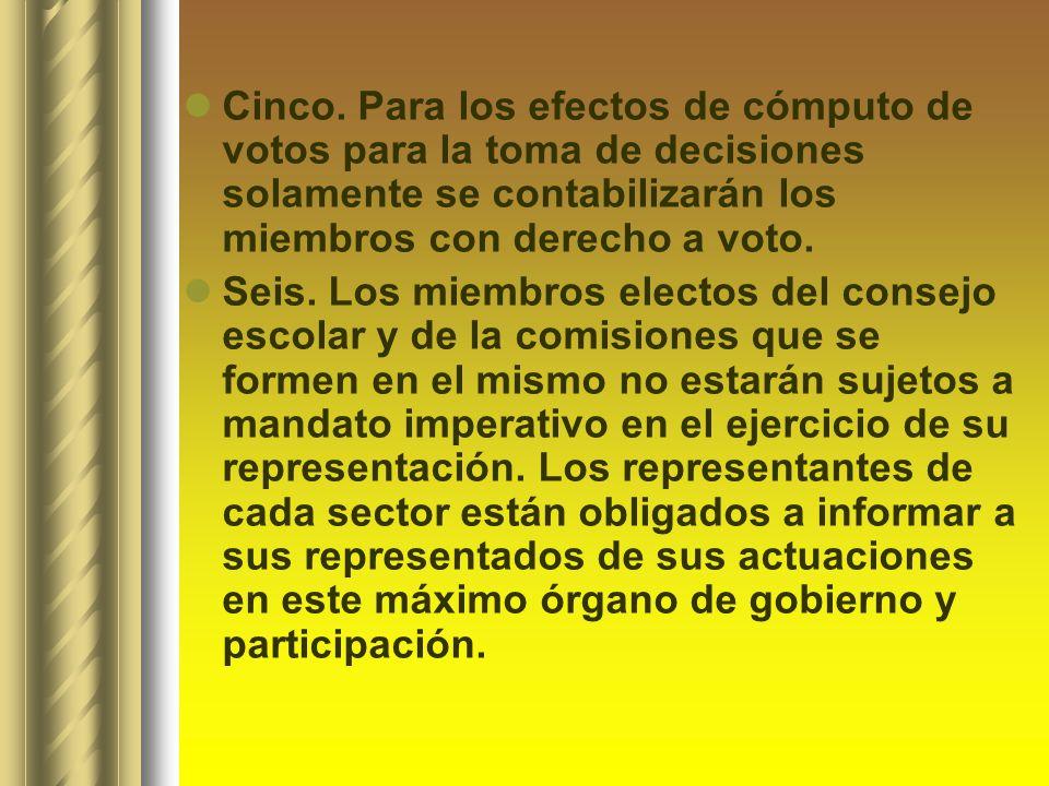 Cinco. Para los efectos de cómputo de votos para la toma de decisiones solamente se contabilizarán los miembros con derecho a voto. Seis. Los miembros