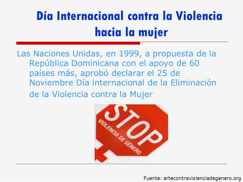 Día Internacional contra la Violencia hacia la mujer Las Naciones Unidas, en 1999, a propuesta de la República Dominicana con el apoyo de 60 países má