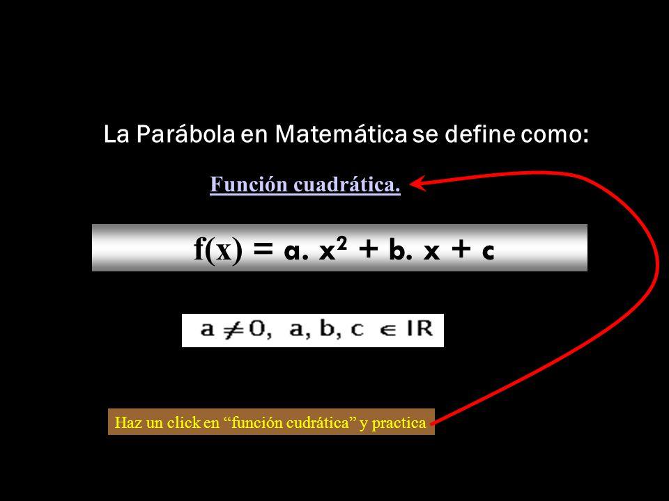 La Parábola en Matemática se define como: f(x) = a.