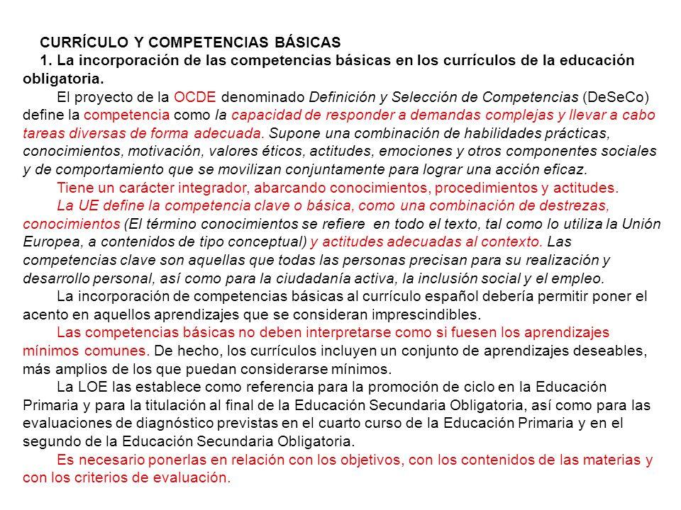 CURRÍCULO Y COMPETENCIAS BÁSICAS 1.