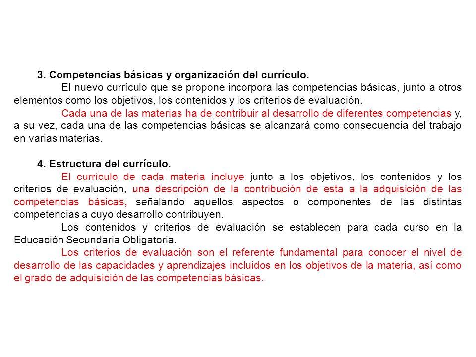 3.Competencias básicas y organización del currículo.