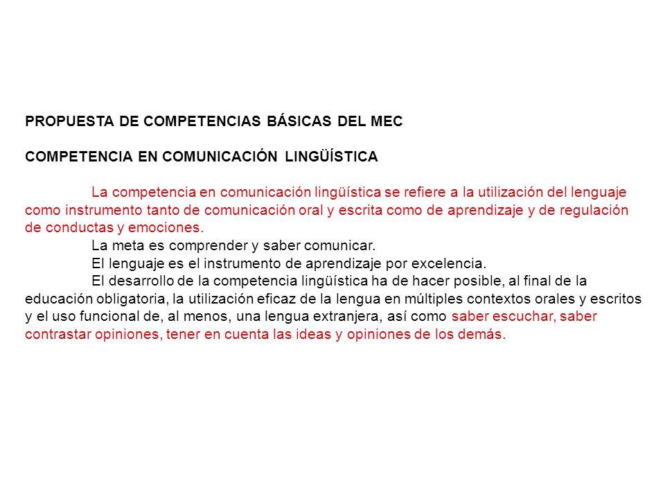 PROPUESTA DE COMPETENCIAS BÁSICAS DEL MEC COMPETENCIA EN COMUNICACIÓN LINGÜÍSTICA La competencia en comunicación lingüística se refiere a la utilización del lenguaje como instrumento tanto de comunicación oral y escrita como de aprendizaje y de regulación de conductas y emociones.