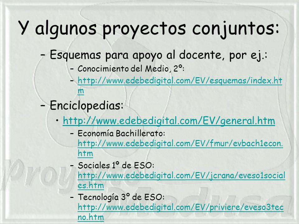 Y algunos proyectos conjuntos: –Esquemas para apoyo al docente, por ej.: –Conocimiento del Medio, 2º: –http://www.edebedigital.com/EV/esquemas/index.ht mhttp://www.edebedigital.com/EV/esquemas/index.ht m –Enciclopedias: http://www.edebedigital.com/EV/general.htm –Economía Bachillerato: http://www.edebedigital.com/EV/fmur/evbach1econ.