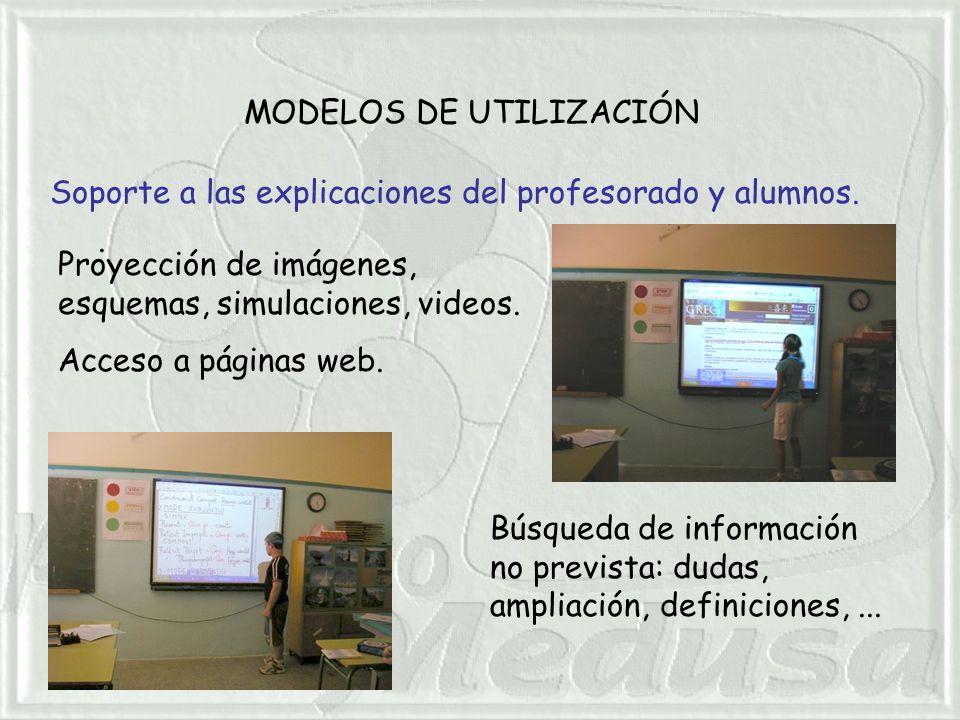MODELOS DE UTILIZACIÓN. Soporte a las explicaciones del profesorado y alumnos.