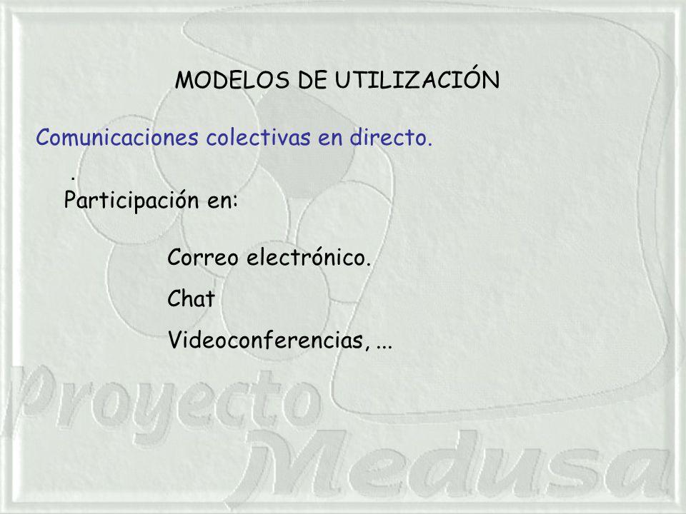 MODELOS DE UTILIZACIÓN. Comunicaciones colectivas en directo.