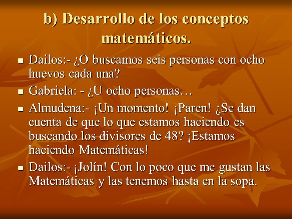 b) Desarrollo de los conceptos matemáticos.