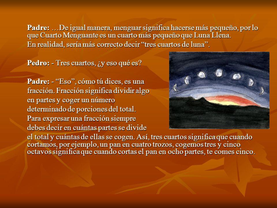 Padre: …De igual manera, menguar significa hacerse más pequeño, por lo que Cuarto Menguante es un cuarto más pequeño que Luna Llena.