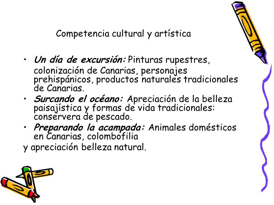 Competencia cultural y artística Un día de excursión: Pinturas rupestres, colonización de Canarias, personajes prehispánicos, productos naturales tradicionales de Canarias.