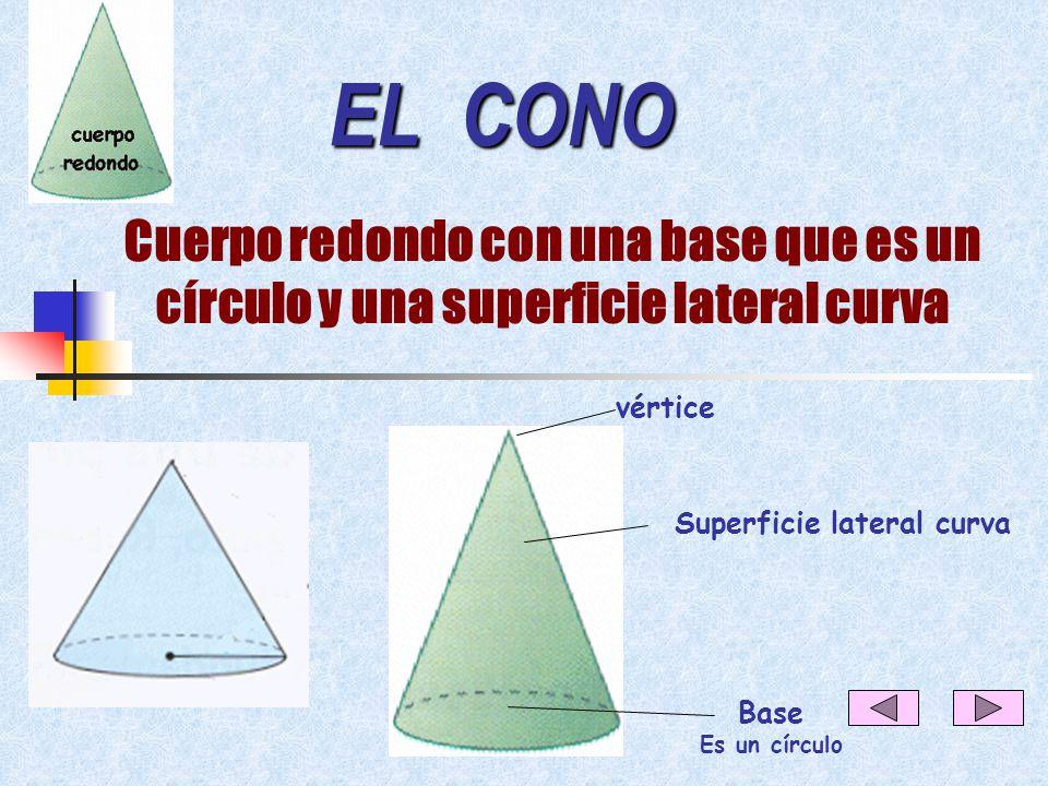 EL CILINDRO Cuerpo redondo con dos bases que son círculos y una superficie lateral curva