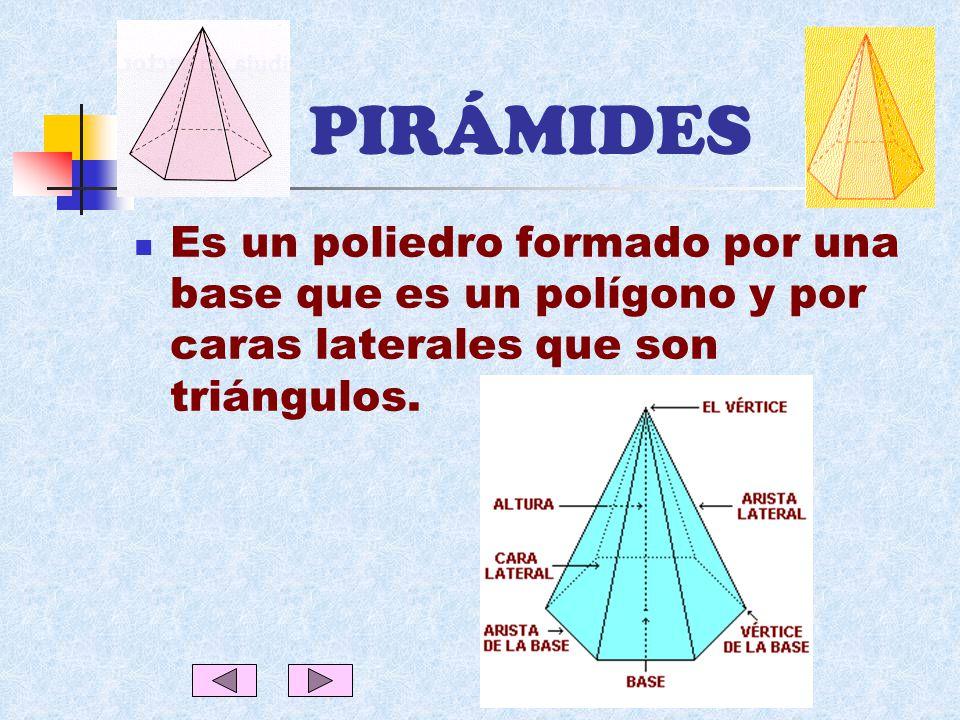 PIRÁMIDES Es un poliedro formado por una base que es un polígono y por caras laterales que son triángulos.