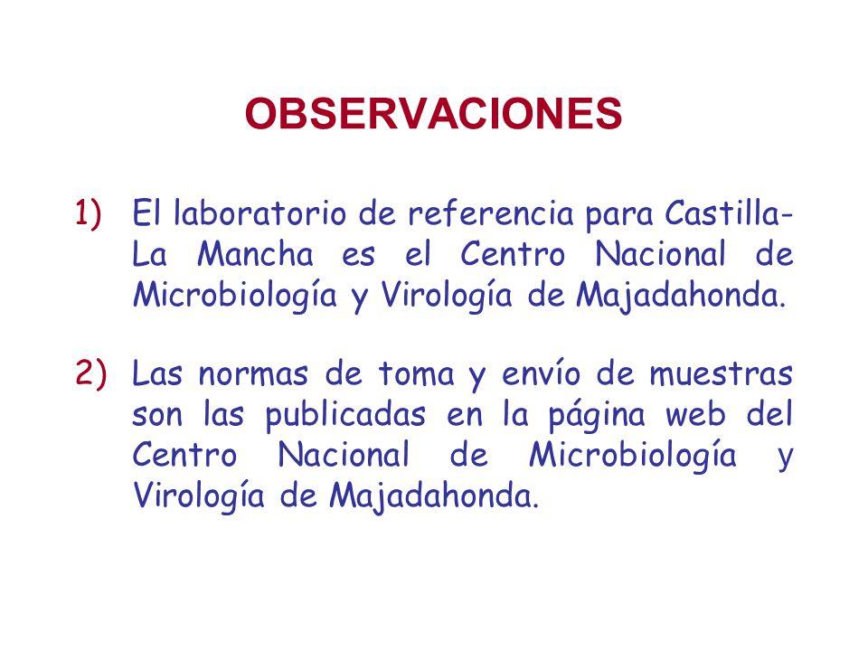 OBSERVACIONES 1)El laboratorio de referencia para Castilla- La Mancha es el Centro Nacional de Microbiología y Virología de Majadahonda. 2)Las normas