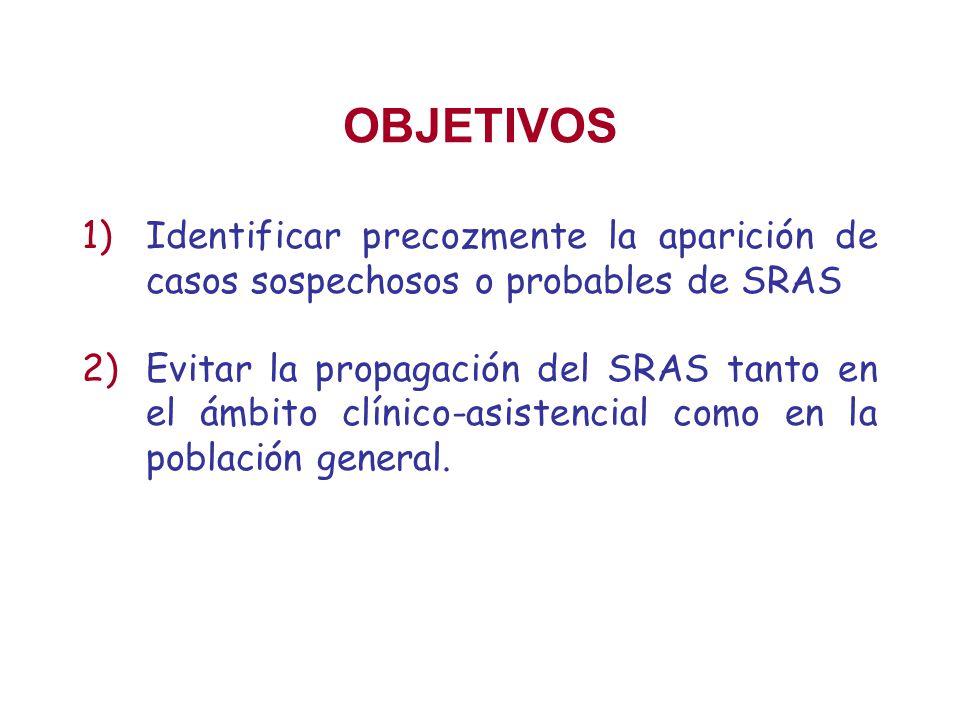 OBJETIVOS 1)Identificar precozmente la aparición de casos sospechosos o probables de SRAS 2)Evitar la propagación del SRAS tanto en el ámbito clínico-