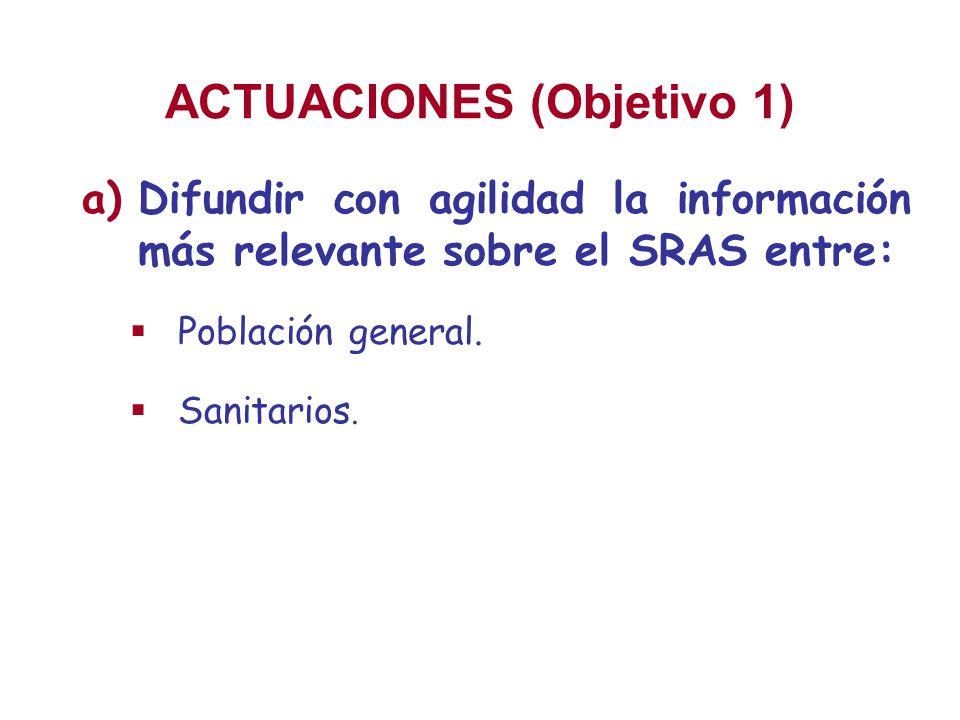 ACTUACIONES (Objetivo 1) a)Difundir con agilidad la información más relevante sobre el SRAS entre: Población general. Sanitarios.