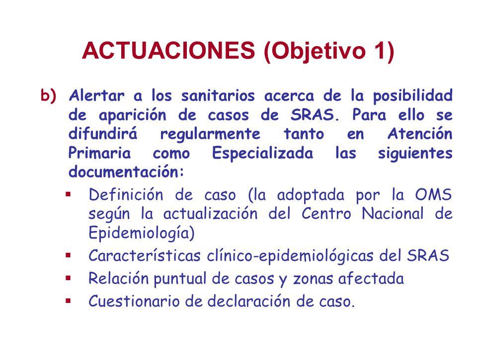 ACTUACIONES (Objetivo 1) b)Alertar a los sanitarios acerca de la posibilidad de aparición de casos de SRAS. Para ello se difundirá regularmente tanto