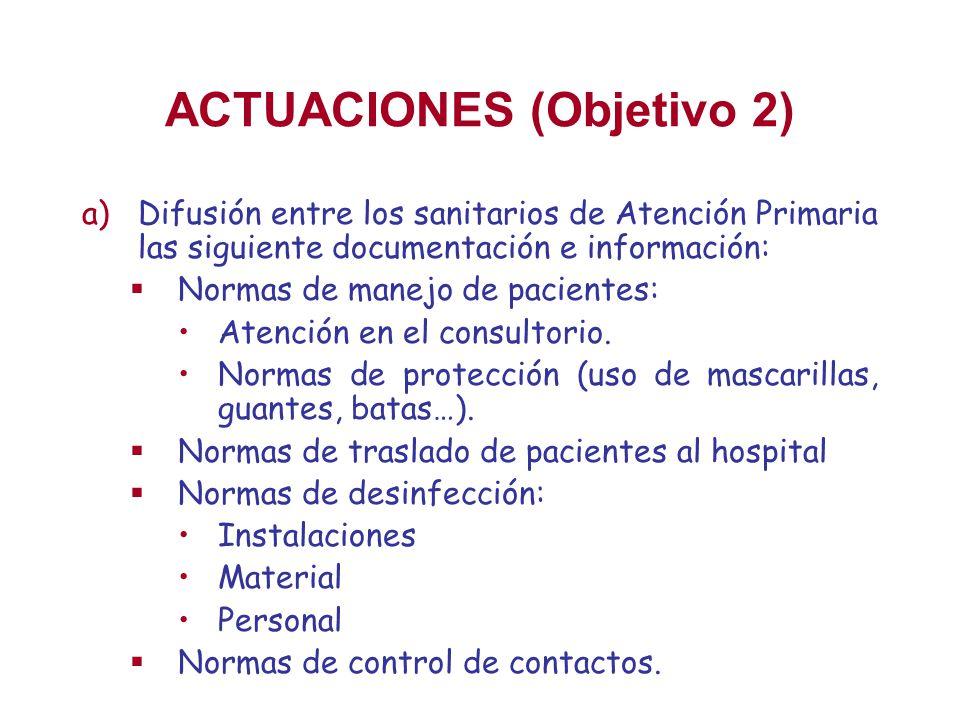 ACTUACIONES (Objetivo 2) a)Difusión entre los sanitarios de Atención Primaria las siguiente documentación e información: Normas de manejo de pacientes