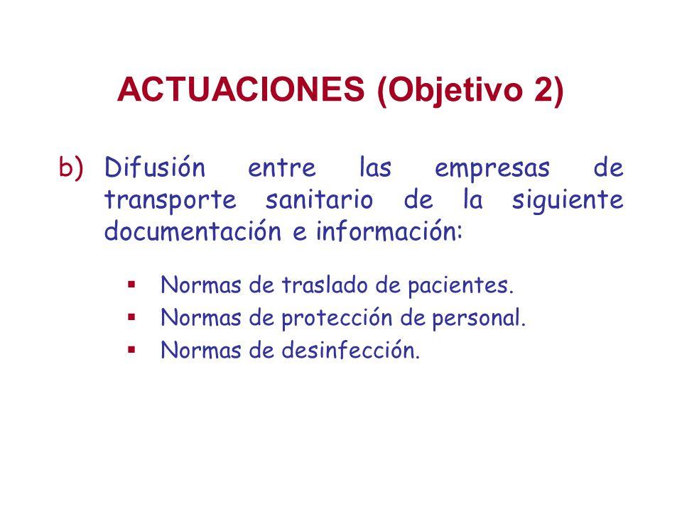 ACTUACIONES (Objetivo 2) b)Difusión entre las empresas de transporte sanitario de la siguiente documentación e información: Normas de traslado de paci