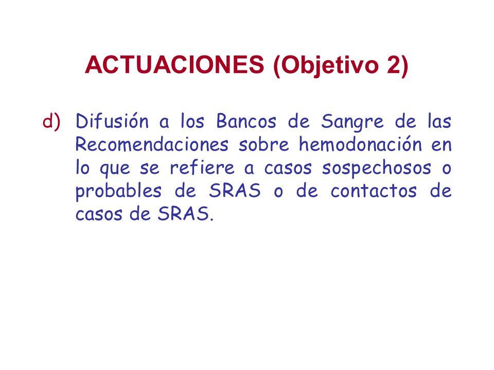 ACTUACIONES (Objetivo 2) d)Difusión a los Bancos de Sangre de las Recomendaciones sobre hemodonación en lo que se refiere a casos sospechosos o probab
