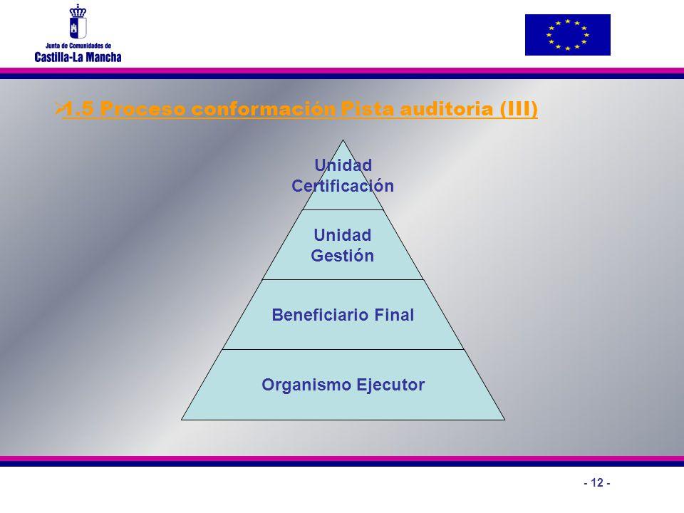 - 12 - 1.5 Proceso conformación Pista auditoria (III) Unidad Certificación Unidad Gestión Beneficiario Final Organismo Ejecutor