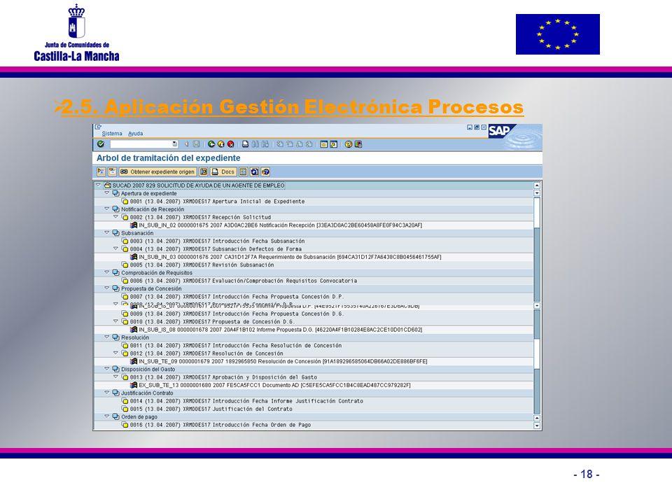 - 18 - 2.5. Aplicación Gestión Electrónica Procesos